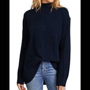 Rag & Bone black W blue Cashmere sweater mock neck
